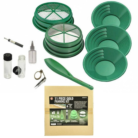 11Pc Gold Panning Set | Gold Panning and Metal Detecting Tools | In Box