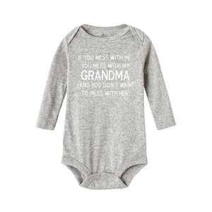 If You Mess with Me You Mess with My Grandma Infant Baby Boy Girls Bodysuit Pring Print Letter Long Sleeve Bodysuit Cotton Cloth