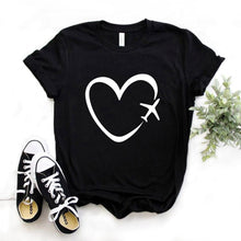 Load image into Gallery viewer, Travel plane heart love womens t-shirt