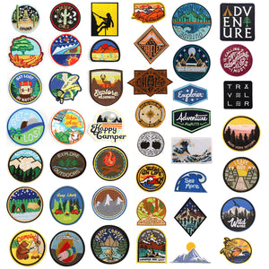 Adventure Travel Hiking Camping Patch Camper Explore Widness Get Lost In Nature Forest Applique Iron Sew On Patch Badge