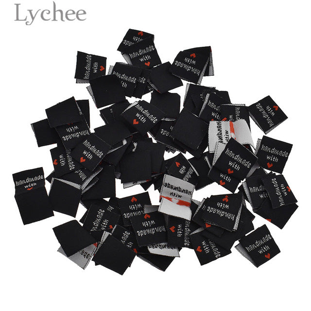 Lychee 100Pcs Handmade With Love Clothing Labels Embossed Tags DIY Flag Labels For Garment Sewing Accessories