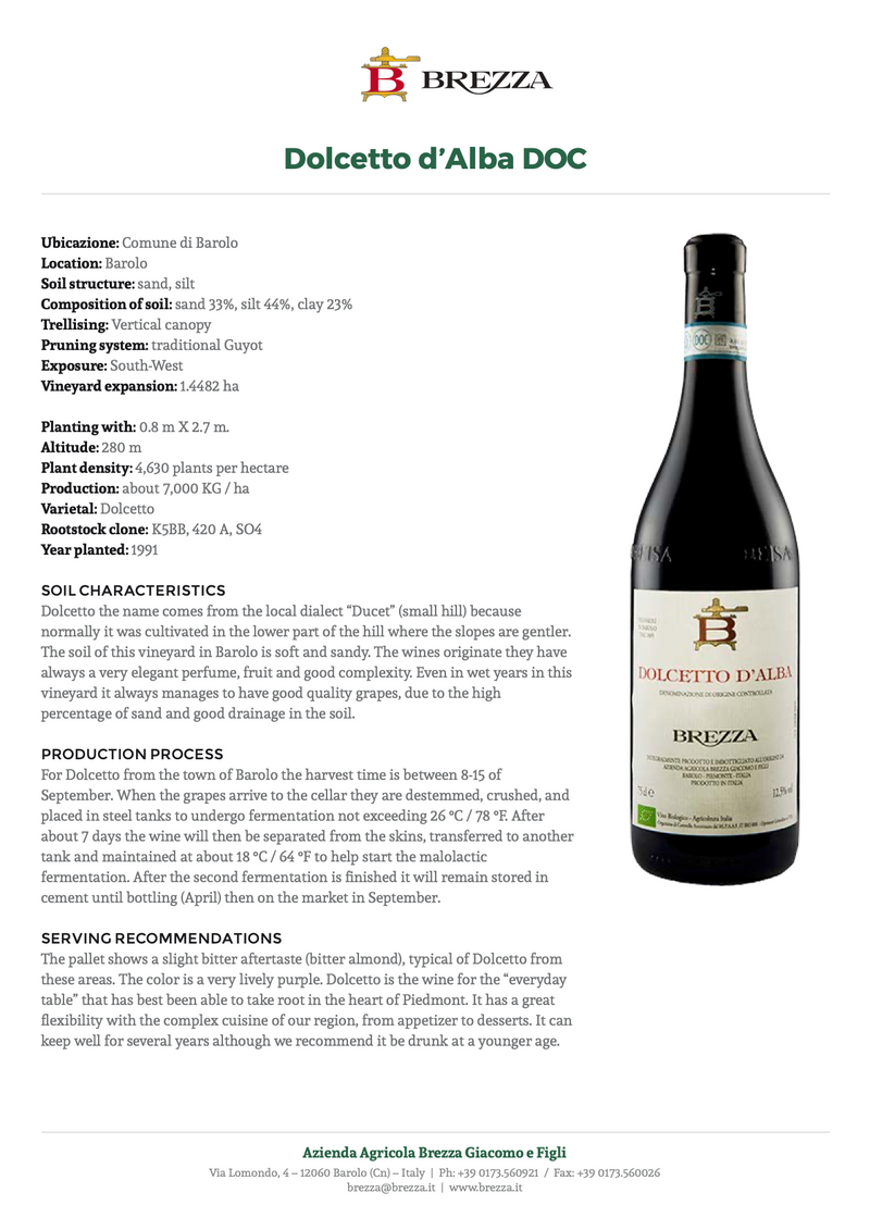 DOLCETTO D'ALBA 2017 [Brezza] 75cl - Once Upon A Vine