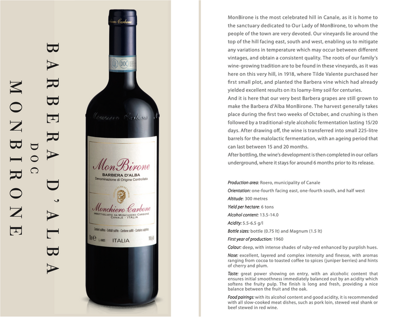 BARBERA D'ALBA MonBirone 2017 [Monchiero Carbone] 75cl - Once Upon A Vine Singapore