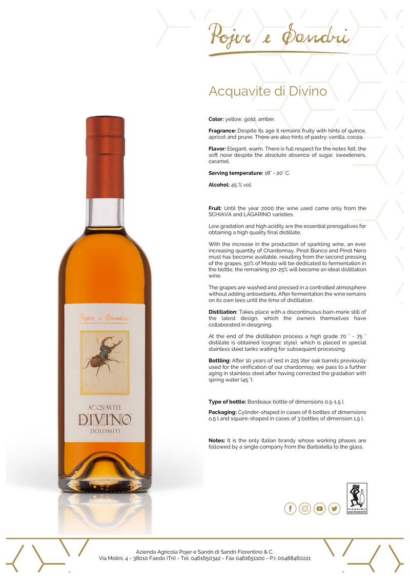 DIVINO Brandy 1988 [Pojer & Sandri] 50cl - Once Upon A Vine
