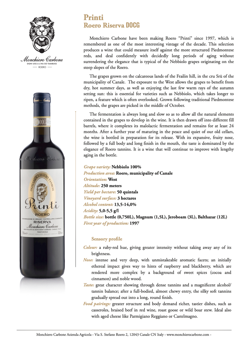 PRINTI Roero Riserva 2010 [Monchiero Carbone] 75cl - Once Upon A Vine