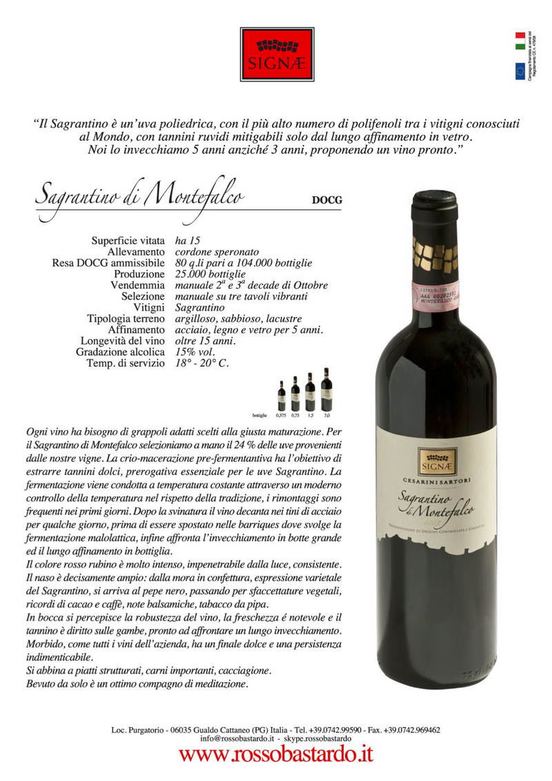 """FIRST HARVEST"" MONTEFALCO SAGRANTINO 2003 [Signae] 75cl - Once Upon A Vine"