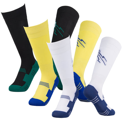 3 pairs black yellow white soccer socks