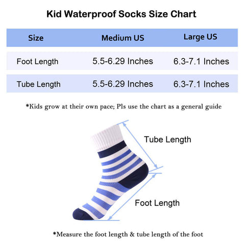 kids waterproof socks size chart
