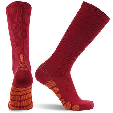 red orange compression socks