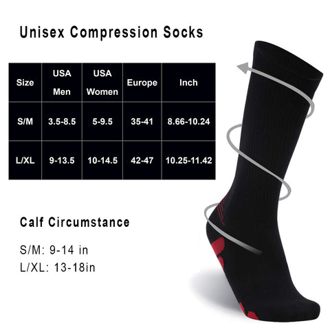 compression socks 2 sizes
