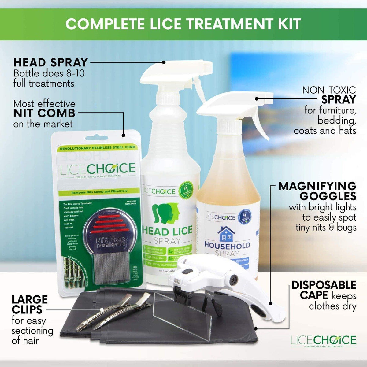 Lice Choice Head and Household Lice Treatment Kit with Terminator Nit Comb, Magnifying Goggles, Disposable Cape, and Hair Clips