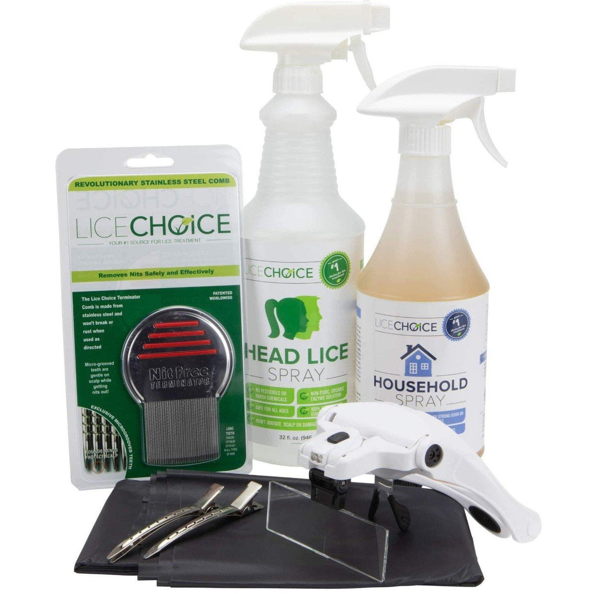 Lice Choice Complete Head and Household Lice Treatment Kit with the Terminator Nit Comb, Magnifying Goggles, Disposable Cape, and Hair Clips.