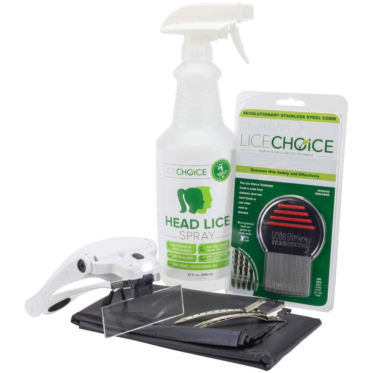 Lice Choice Head Lice Treatment Kit with Terminator Nit Comb, Magnifying Goggles, Disposable Cape, and Hair Clips.