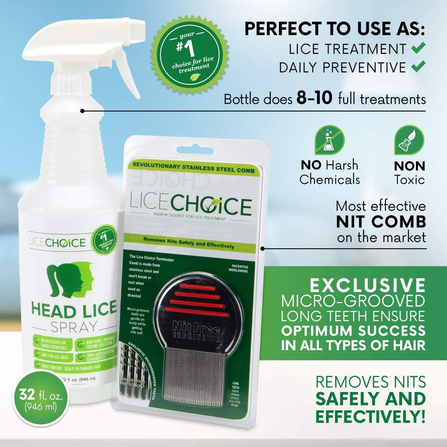 Lice Choice Head Lice Treatment Kit with Head Lice Treatment Spray and Terminator Nit Comb