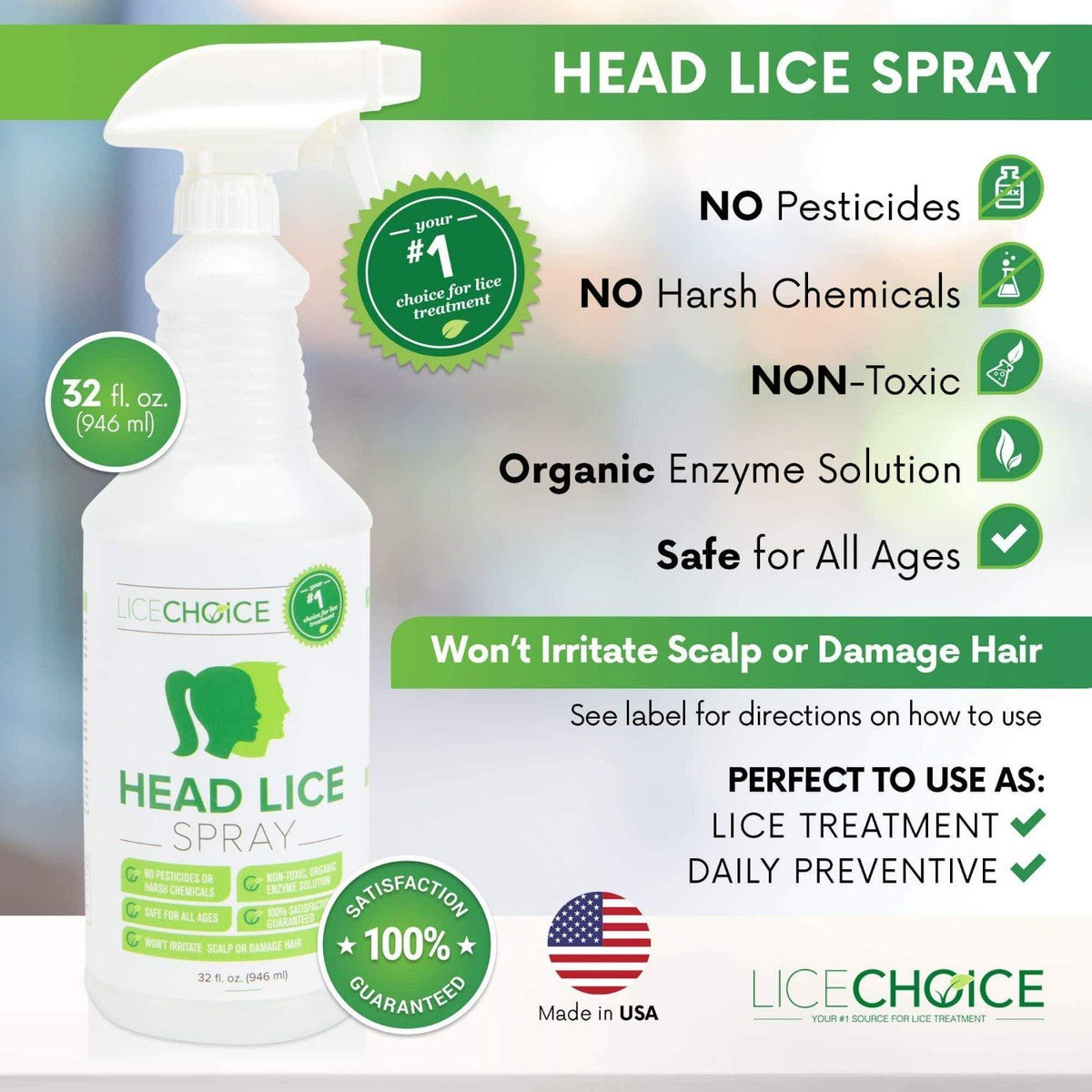 Lice Choice Head Lice Treatment Spray with no pesticides, harsh chemicals, non-toxic, and is safe for all ages.