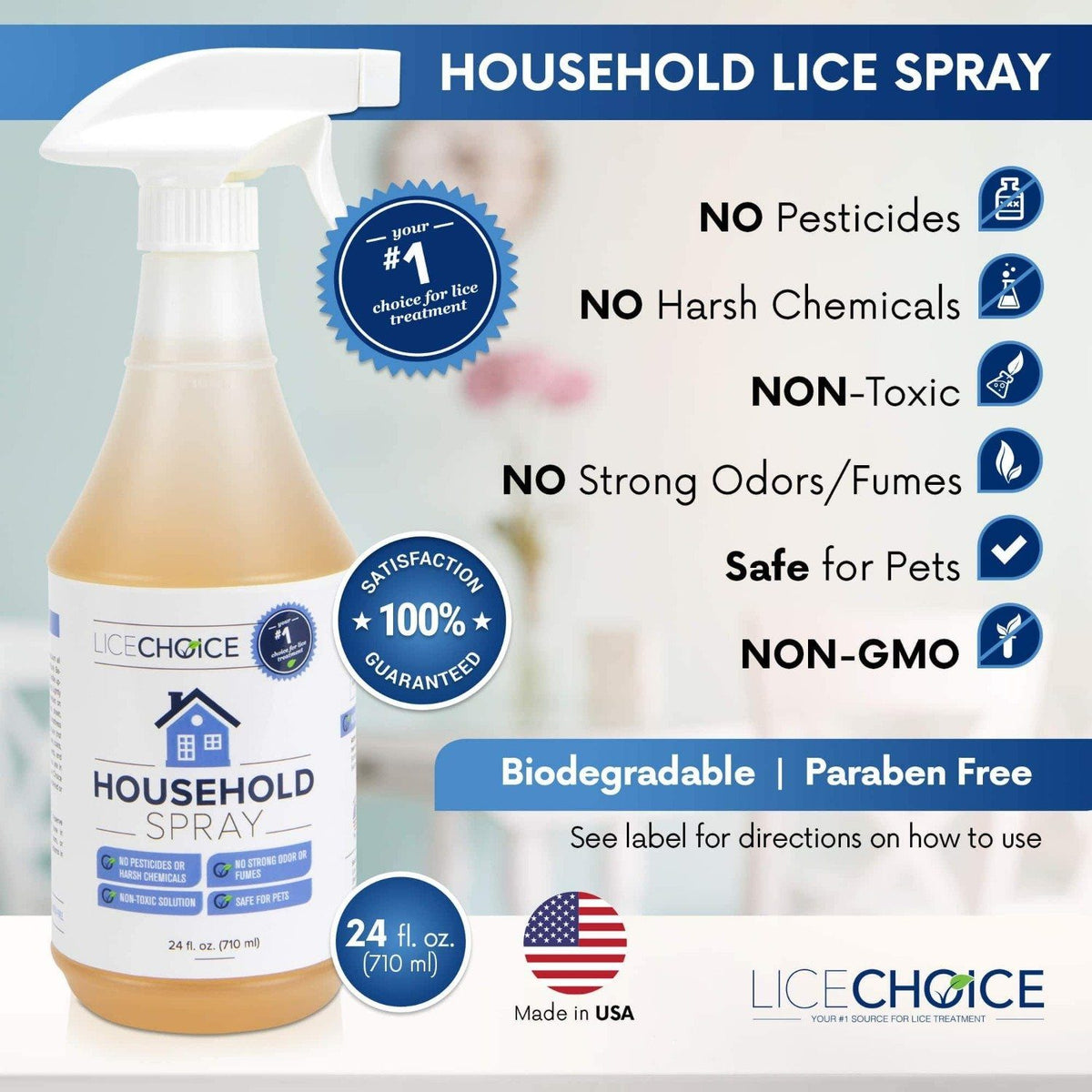 Lice Choice Household Treatment Spray which has no pesticides, no harsh chemicals, is non-toxic, and is safe for pets.