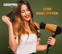 Load image into Gallery viewer, Geepas GH8642 1600 watt Mini Hair Dryer with 2 Speed Control - Gold - TUZZUT Qatar Online Store