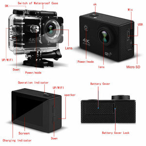 4K Wifi Ultra HD 1080P Sport Action Camera DV Video Waterproof Camcorder with remote