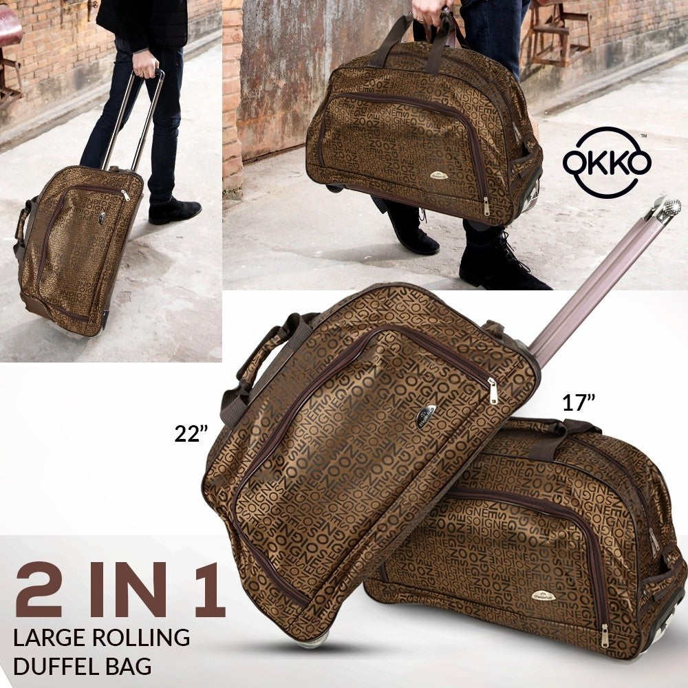 OKKO 2 in 1 Oxford Multi Function Large Rolling Duffle Bag, Brown - GH-190