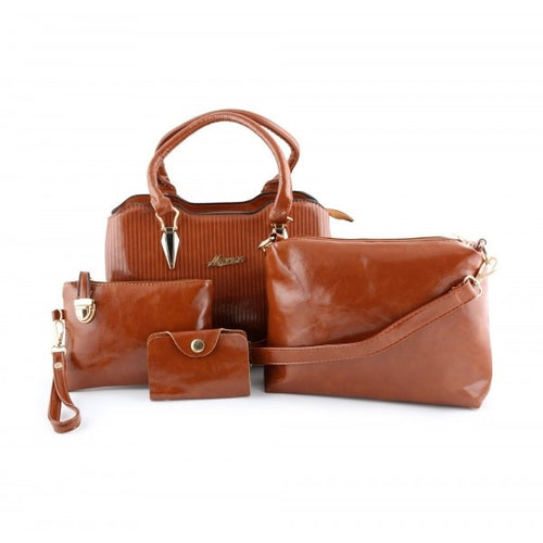 MYNES Leather Satchel Set 4 Bags - ACE-17-BROWN - TUZZUT Qatar Online Store
