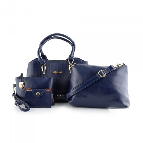 MYNES Leather Satchel Set 4 Bags - ACE-17-BLUE - TUZZUT Qatar Online Store