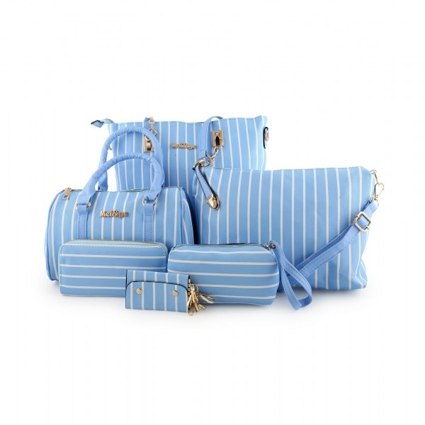 Striped Canvas Long Shoulder Bags Set of 5 Pcs - ACE-7-BLUE - TUZZUT Qatar Online Store