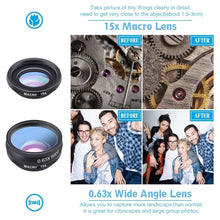 Load image into Gallery viewer, Apexel 10 in 1 Cell Phone Camera Lens Kit Wide Angle Lens & Macro Lens+Fisheye Lens+Telephoto Lens+CPL/Flow/Radial/Star Filter+Kaleidoscope 3/6 Lens for iPhone Samsung Sony and Most of Smartphone