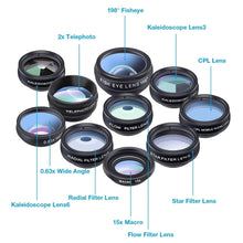 Load image into Gallery viewer, Apexel 10 in 1 Cell Phone Camera Lens Kit Wide Angle Lens & Macro Lens+Fisheye Lens+Telephoto Lens+CPL/Flow/Radial/Star Filter+Kaleidoscope 3/6 Lens for iPhone Samsung Sony and Most of Smartphone - TUZZUT Qatar Online Store