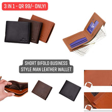 Load image into Gallery viewer, Short Bifold Business Style Man Leather Wallet (3 Pieces)
