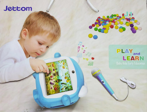 JETTOM J1 Play And Learn Kids Tablet 7 Inch 4GB, 512 MB DDR3, WiFi, Quad Core, Camera, Android Calling Function - blue + FREE Microphone!