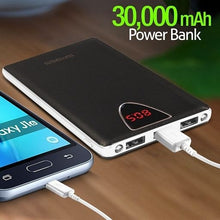 Load image into Gallery viewer, sPass Fast Charge 3 USB Port 30,000 mAh Power Bank With LCD For Smartphones & Tablets (K6), Black