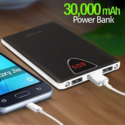 sPass Fast Charge 3 USB Port 30,000 mAh Power Bank With LCD For Smartphones & Tablets (K6), Black - TUZZUT Qatar Online Store
