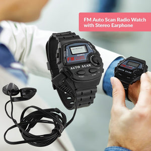 FM Auto Scan Radio Watch with Stereo Earphone - TUZZUT Qatar Online Store
