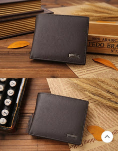 JINBAOLAI CW-8041 Short Bifold Genuine Leather Men Luxury Wallet With Coin Pocket Purse - BROWN