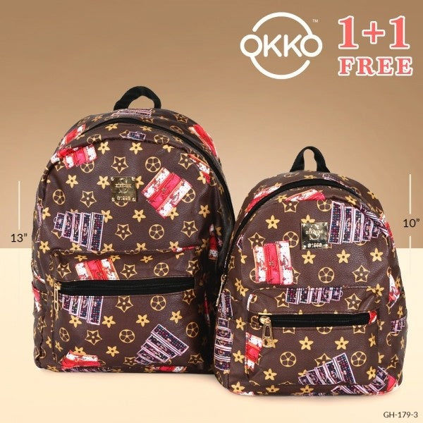 OKKO 2 Pieces Mochila Backpack for Teenagers 13 Inch and 10 Inch - GH-179-3 - TUZZUT Qatar Online Store