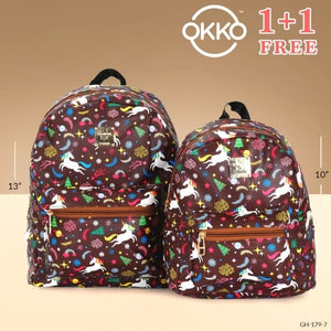 OKKO 2 Pieces Mochila Backpack for Teenagers 13 Inch and 10 Inch - GH-179-7 - TUZZUT Qatar Online Store
