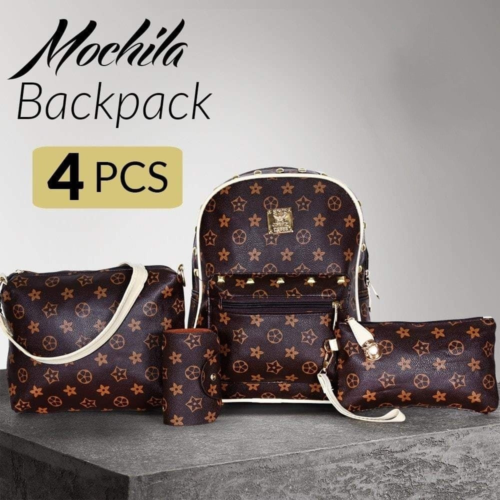Mochila Famous Backpack for Women's Set of 4 Pieces - Brown