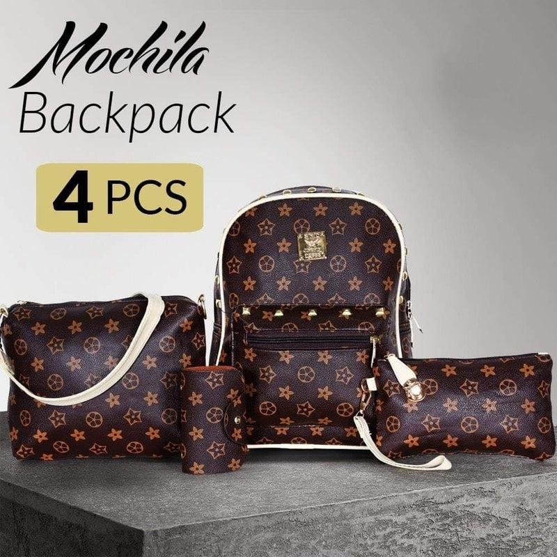 Mochila Famous Backpack for Women's Set of 4 Pieces - Brown - TUZZUT Qatar Online Store