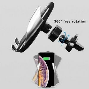 S5 Automatic Clamping Wireless Car Charger For iphone Android Air Vent Phone Holder 360 Degree Rotation Charging Mount Bracket - TUZZUT Qatar Online Store