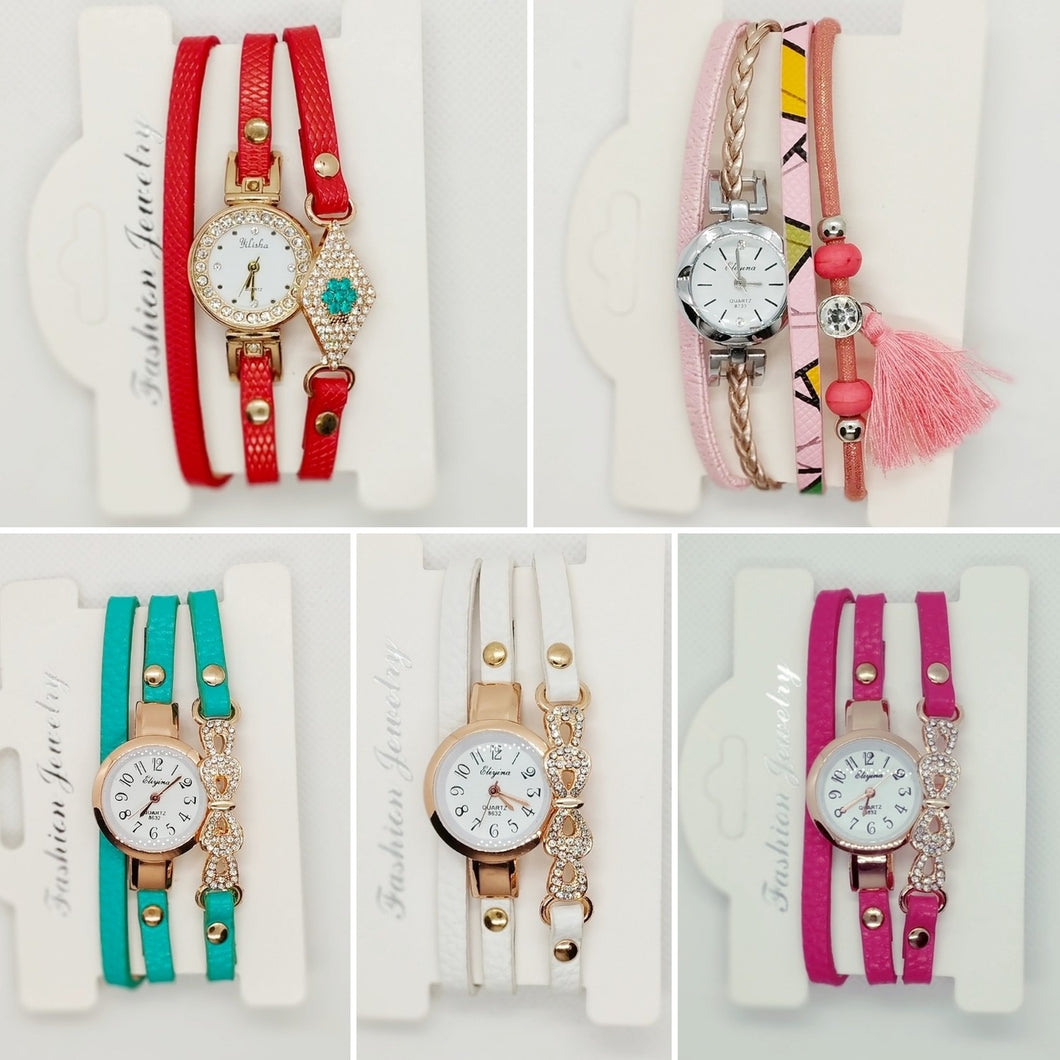 5 Pcs Leather Band Bracelet Watch - Assorted Colours