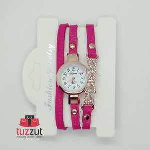 5 Pcs Leather Band Bracelet Watch - Assorted Colours - TUZZUT Qatar Online Store