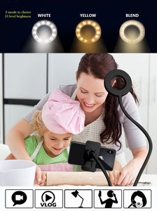 Selfie Ring Light with Cell Phone Holder Stand for Live Stream/Makeup, LED Camera Lighting [3-Light Mode] [10-Level Brightness] with Flexible Arms Compatible with iPhone 8 7 6 Plus X Android - TUZZUT Qatar Online Store