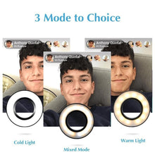 Load image into Gallery viewer, Selfie Ring Light with Cell Phone Holder Stand for Live Stream/Makeup, LED Camera Lighting [3-Light Mode] [10-Level Brightness] with Flexible Arms Compatible with iPhone 8 7 6 Plus X Android