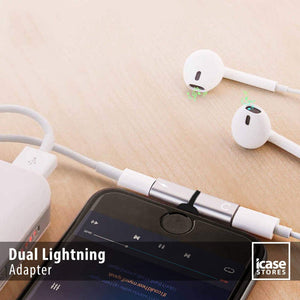 iPhone Dual Lightning Splitter Adapter, Supports for iPhone 7/7 Plus/8/8 Plus/X & iPad iOS 11 or Later, Headphone Jack Audio & Charge Cable at the same time - TUZZUT Qatar Online Store