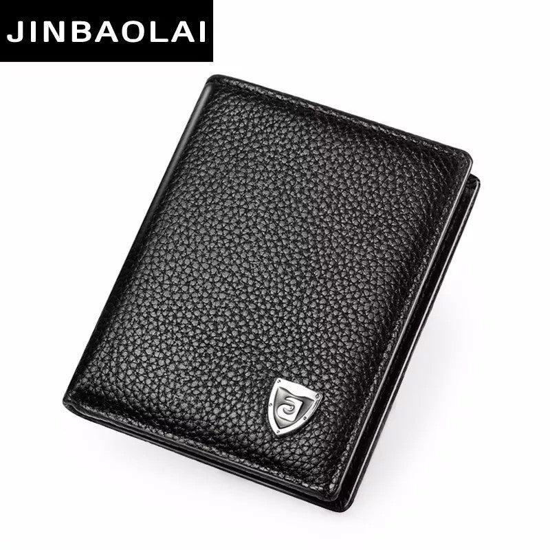 Short Mini Genuine Leather Men's Wallet Purse Card Holder - JINBAOLAI CW- 8046 - TUZZUT Qatar Online Store