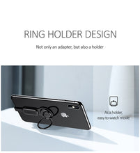 Load image into Gallery viewer, USAMS AU06 Lighting Dual Adapter & Ring Holder 3.5mm Audio&charger Adjust Phone Holder fast charging for iPhone iOS Adapter OTG - TUZZUT Qatar Online Store