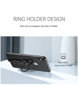 USAMS AU06 Lighting Dual Adapter & Ring Holder 3.5mm Audio&charger Adjust Phone Holder fast charging for iPhone iOS Adapter OTG - TUZZUT Qatar Online Store