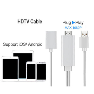 USB To HDMI Cable HDTV Mirroring Adapter For iPhone/Android L6M-2M 1080P