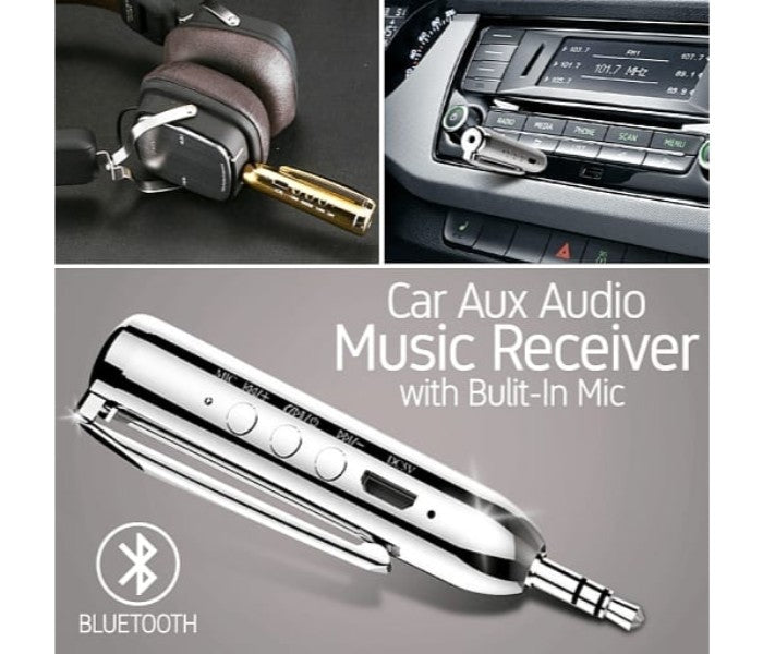 JH Universal 3.5 mm Jack Bluetooth Pen Car Aux Audio Music Receiver Bulit-In Mic Handfree, MP-S100 Assorted - TUZZUT Qatar Online Store