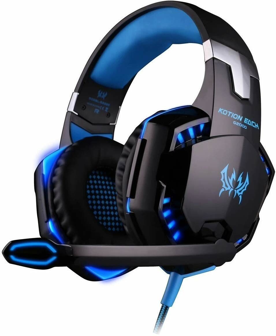 KOTION EACH G2000 Pro Gaming Headset with Mic Over-Ear Led Stereo Music Gaming Headphones Earphone for PS4, New Xbox One, Laptop Tablet Game - Blue-Black - TUZZUT Qatar Online Store
